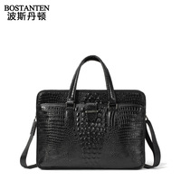 BOSTANTEN high quality portable commercial crocodile pattern 100% cowhide Genuine leather briefcase handbag bag for men E60