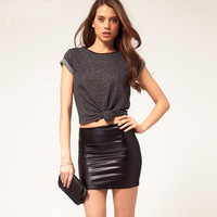 New Arrival Fashion Water Washed Leather Skirts XS-XXL Soft Short Skirt Slim Hip PU Skirt Female Bust Skirts Black 6 Size