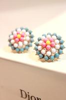 Bohemian flower small accessories female vintage circle earring stud earring