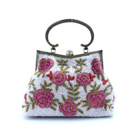 New arrival classic handmade beaded bag small cross-body bag female vintage chinese style evening bag bridal bag cheongsam bag