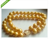 2 ROW 9-10 MM 7.5INCH SOUTH SEA AAA GOLDEN PEARLS BRACELET 14K SOLID GOLD MARKED