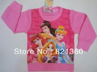 free shipping wholesale children's clothing auttum kids   cute long sleeve beautiful princess cotton tshirt T-shirt for girls