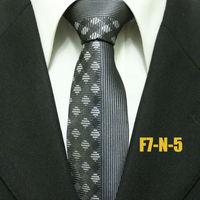 Mens Gatsby Business Formal Patchwork Check Neck Ties For Men Grey Gray Wedding Neckties For Man Business Gravatas 7CM F7-N-5