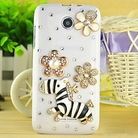 Pearl flowers and Cute Zebra 3D Diamond Decorative Phone Case Accessories for Lenovo A390