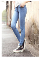 2013 new arrival high waist jeans trousers women slim jeans designer brand leggings ladies slim pencil pants Cambridge blue blue