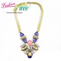 2013 New Fashion Multi Color Stone Fan Choker Necklace Big Retro Chain Chunky Statement Jewelry For Women Free Shipping