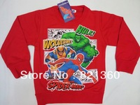 free shipping 2013 new Wholesale Fashion kids spider man cool  tshirt kids Cartoon boy's long Sleeve T shirt 3color