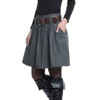 2013 autumn and winter female bust skirt plus size medium woolen skirt a-line skirt with belt