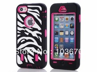 New Fashion Zebra Heavy Duty Hybrid Rugged Silicone Rubber Hard PC Full Protection Cover Case for iPhone 5C, Free Shipping