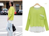 Free Shipping!2013 fall fashion new women's top Korean fake two-piece lady bottoming shirt long-sleeved T-shirt Wholesale