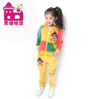 Children's clothing 2013 female child autumn velvet sports casual baby autumn school wear set