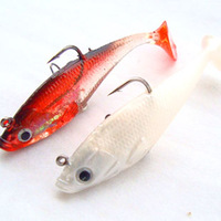 Hot commodity, 10pcs 8.5cm 12g Road sub bait hook with three bionic bait, white / red wine package Lead fish