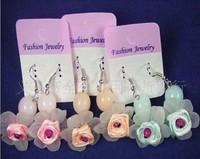 free shipping! Scrub flower drop earring with diamond flower jelly bead earrings