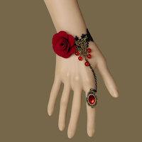 Free shipping 12pc/lot wholesale unique mysterious vampire style gothic devil lace bracelet