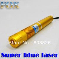Discount New 5000mw Blue laser pointer 450nm Focusable burning torch + aluminium case Golden shell