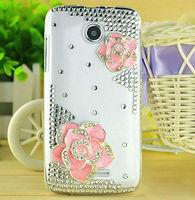 Camellia Japonica Flower Diamond Crystal Back Cover Handicrafts Flowers Bling Case for Lenovo A390