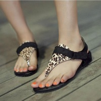 2013 leopard print casual flip-flop sandals female shoes velcro flats pinch flat shoes