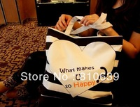 "2013 women's handbag stripe canvas bag colorful stripe ""What Makes U so Happy"" handbag Korean fashion bag Promotion"