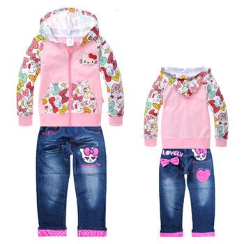 6 Sets/Lot Hello Kitty Children Clothing Set,Children's Long Sleeve Hoodie +Long Jean Pant,Girl Cartoon Clothing Set T9106