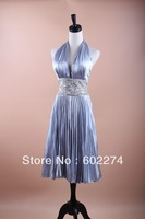 Shining Paillette Monroe Fish Scale Silver V-neck Pleated Dance Clothes