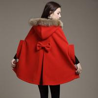 2014 Women autumn and winter wool coat cloak overcoat fur collar cloak batwing sleeve woolen outerwear cape free shipping