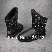 New 2013 Australia Sheepskin Casual Flat Rivets Ankle Shoes Black Winter Short Suede Snow Womens Boots Plus Genuine Leahter Fur