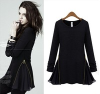 Free Shipping!2013 European and American star autumn round neck thin knit fleece long sleeve dress Chiffon Zipper