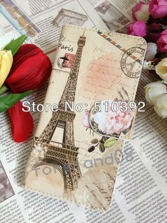 Best Flower Eiffel Flip Pouch Leather Protect Cover For Nokia N8 Case With Card Slots & Camera Hole, Top Quality, Free Shipment(China (Mainland))