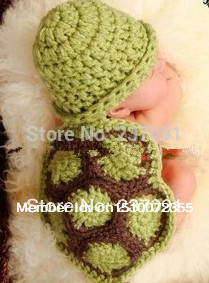 Handmade Turtle Sets Newbaby Photography Props Newborn Photo Infant Baby Animal Beanie Caps Hats Knitted Cashmere 0-6 Months