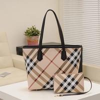 2014 women's grid casual handbag fashion british style genuine leather  + VC handle shoulder bag plaid bag