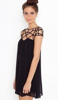 2013 New Women's Chiffon Dress Black/Blue Colors Mesh Shoulders vintage casual dress vestidos free shipping summer