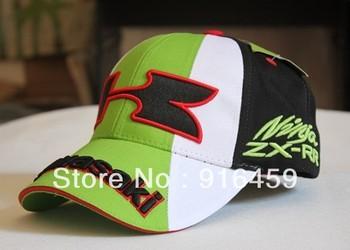 Free Shipping wholesale  2013 100% cotton   baseball green blue caps kawasaki F1 racing CAR  motorycycle sun cap hat