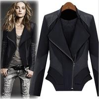 2013 autumn limited edition super handsome lapel slanting patchwork slim motorcycle leather jacket leather clothing