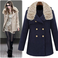 2013 high quality rabbit fur woolen double breasted woolen outerwear overcoat