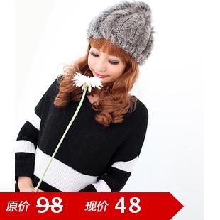Rabbit wool hat Women women's fur hat autumn and winter knitted hat cap ball cap powder(China (Mainland))