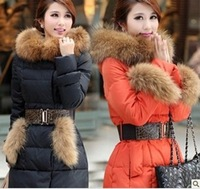 2013 New Women's Winter down Jacket Fashion Large Fur Collar Slim Medium-long Thickening ladies Down Coat+Free shipping JF1680