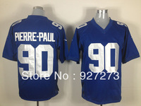 Wholesale Men's Brand New York #90 Pierre-Paul American Football Jerseys Game Embroidery Logo Free Shipping Blue White 40-60