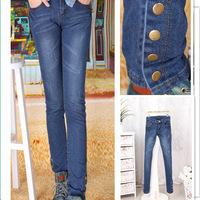 2013 jeans Cultivate one's morality show thin legs jeans button 4 individual design pencil pants pants free shiping