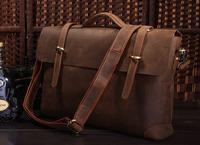 Vintage Genuine real leather Men buiness handbag laptop briefcase shoulder Travel bag / man messenger bag JMD7082R-310