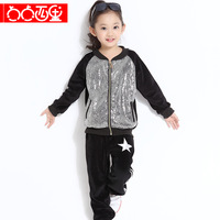 Dot 2013 autumn new arrival child clothing female fashion paillette casual sports set