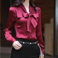 2013 summer & autumn 100 positive feedback hot sale Women's V-neck slim long-sleeve yarn top office lady red blouses and shirts