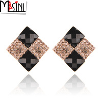 Vintage elegant anti-allergic ear buckle earring fashion diamond rhombus Women - eye stud earring