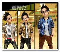 Trendy korean children jacket boys gold silver blue Sequins Zipper Baseball uniform Fashion jacket kids round collar outwear451