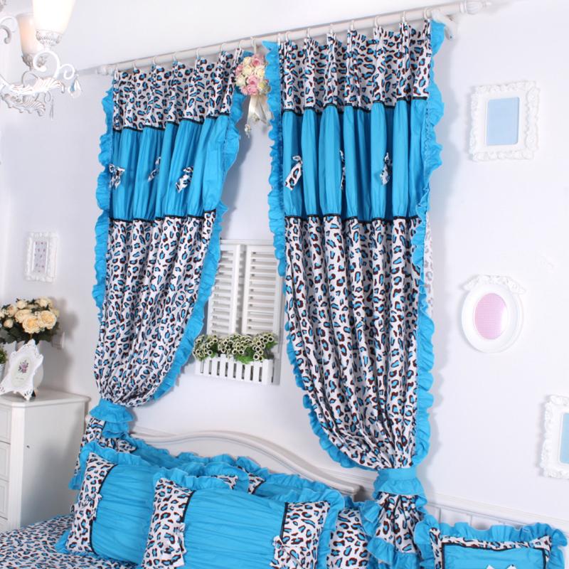 customize curtain romantic princess rustic curtain blue leopard print