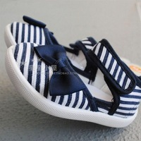 Stripe navy style single shoes canvas shoes soft outsole shoes baby shoes