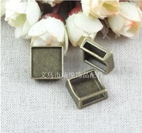 16.8*16.8*6.2MM Fit 15*15MM square cabochon Vintage blank bead DIY slide bracelet charms accessories wholesale slider jewelry