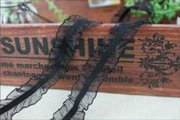 Black Elastic stretch  Ruffle  lace trim  diy sewing    2.2cm