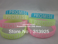 I PROMISE wristband, silicon bracelet, promotion gift, GLOW IN THE DARK,custom design wristband, 100pcs/lot, free shipping