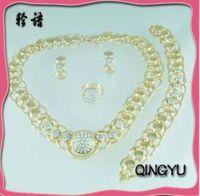 QYJS049 Silver Costume Dubai Fashion Wedding Bridal Gold Plated Jewelry Sets Business Gift