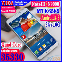 Full 1:1 Galaxy Note 3 N9000 Android 4.3 Phone 2GB Ram 16GB Rom 1.9Ghz MTK6589 Note III Quad Core Air Gesture WIFI 3G GPS